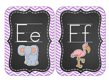 Chalkboard Brights Alphabet Cards: Purple Chevron Set