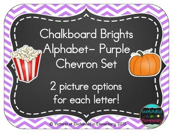 Chalkboard Brights Alphabet Cards: Purple Chevron Set