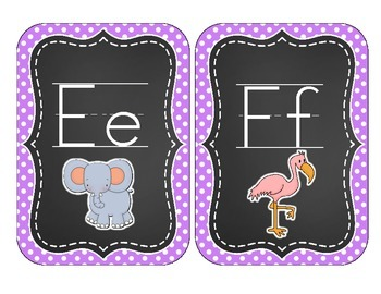 Chalkboard Brights Alphabet Cards: Purple Polka Dot Set