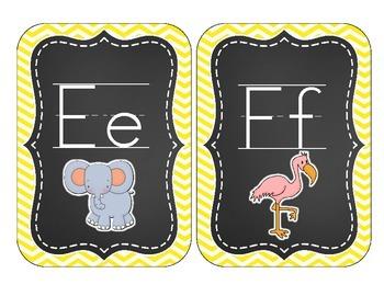 Chalkboard Brights Alphabet Cards: Yellow Chevron Set