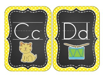 Chalkboard Brights Alphabet Cards: Yellow Polka Dot Set