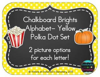 Chalkboard Brights Alphabet Cards: Yellow Polka Dot Set