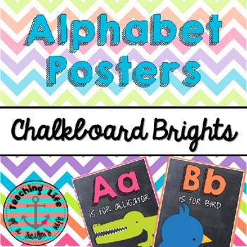 Chalkboard Brights Alphabet Posters