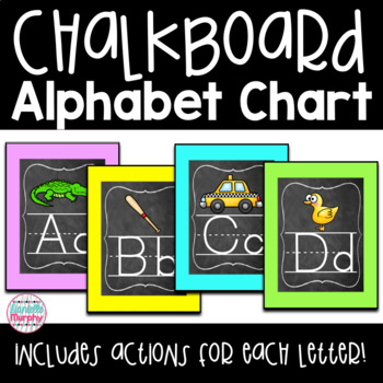 Chalkboard Bright Neon Decor Alphabet Posters and Charts