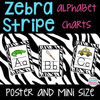 Alphabet Posters and Charts-Black and White Zebra-Large an