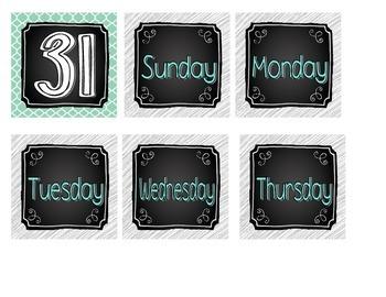 Chalkboard Brights Calendar Numbers