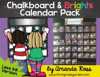 Chalkboard & Brights Calendar Pack {Less Ink Version}