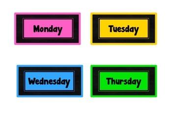 Chalkboard & Brights Calendar Set