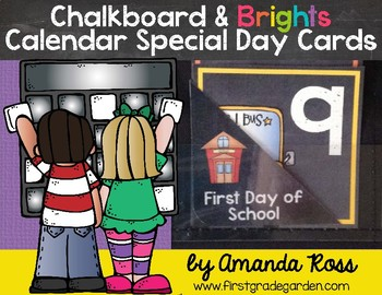 Chalkboard & Brights Calendar Special Day Cards