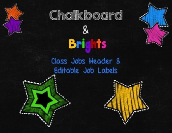 Chalkboard & Brights Class Jobs Header & Editable Job Labels