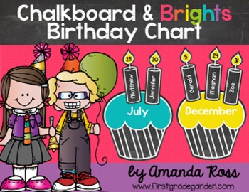 Chalkboard Brights Classroom Birthday Chart