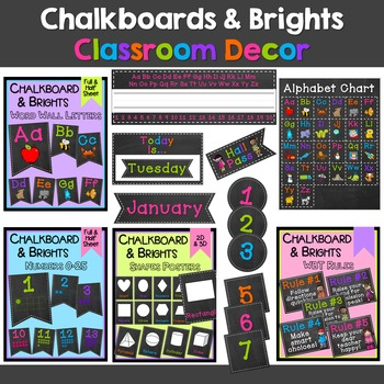 Chalkboard & Brights Classroom Décor Bundle