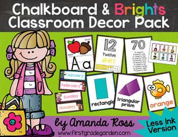Chalkboard & Brights Classroom Decor Pack {Less Ink Version}