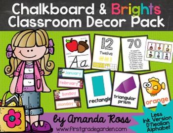 Chalkboard & Brights Classroom Decor Pack {Less Ink Version - D'Nealian}