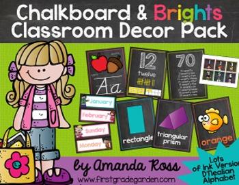 Chalkboard & Brights Classroom Decor Pack {Lots of Ink Version - D'Nealian}