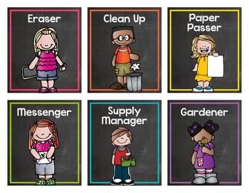 Chalkboard & Brights Classroom Jobs {Editable}