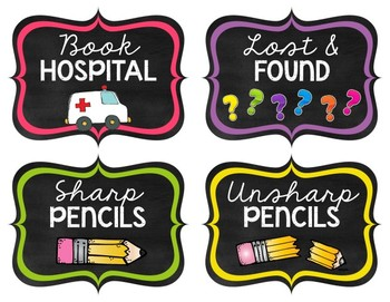 Chalkboard & Brights Classroom Label Pack