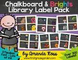 Chalkboard & Brights Classroom Library Labels & Stickers {D'Nealian Font}