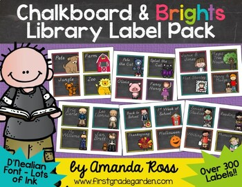 Chalkboard & Brights Classroom Library Labels & Stickers {D'Nealian Font}