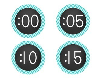 Chalkboard Brights Clock Numbers- Blue Chevron Set