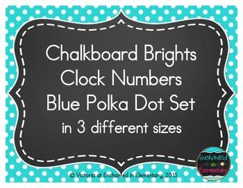 Chalkboard Brights Clock Numbers- Blue Polka Dot Set