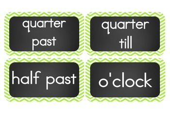 Chalkboard Brights Clock Numbers- Green Chevron Set