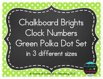 Chalkboard Brights Clock Numbers- Green Polka Dot Set