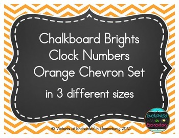 Chalkboard Brights Clock Numbers- Orange Chevron  Set