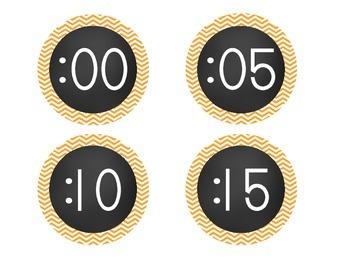 Chalkboard Brights Clock Numbers- Orange Chevron  Set