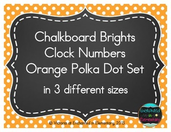 Chalkboard Brights Clock Numbers- Orange Polka Dot Set