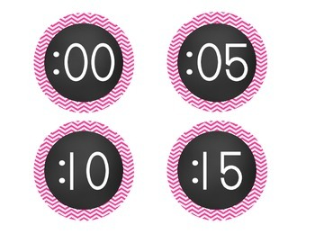 Chalkboard Brights Clock Numbers- Pink Chevron Set