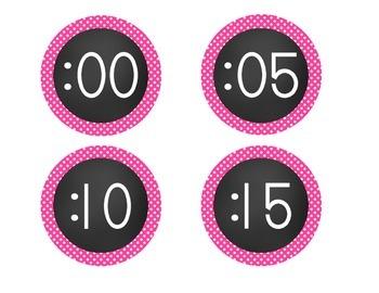 Chalkboard Brights Clock Numbers- Pink Polka Dot Set