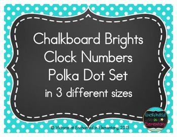 Chalkboard Brights Clock Numbers- Polka Dot Set