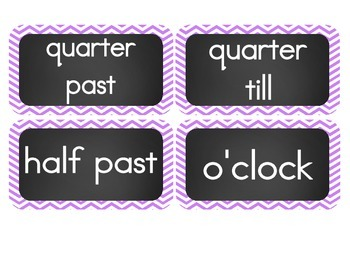 Chalkboard Brights Clock Numbers- Purple Chevron Set