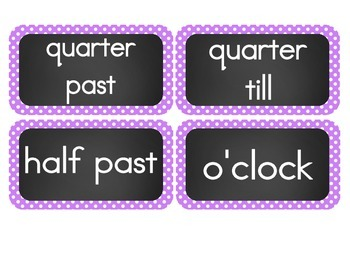 Chalkboard Brights Clock Numbers- Purple Polka Dot Set
