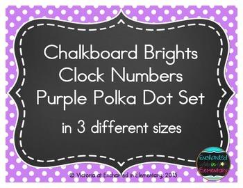 Chalkboard Brights Clock Numbers- Purple Polka Dot Set