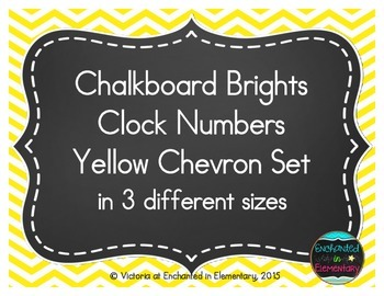 Chalkboard Brights Clock Numbers- Yellow Chevron Set
