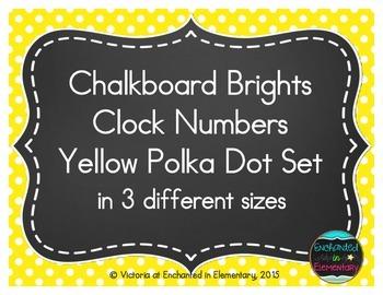 Chalkboard Brights Clock Numbers- Yellow Polka Dot Set