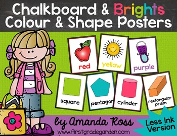 Chalkboard & Brights Colour & Shape Posters {Less Ink Version}