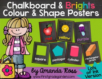 Chalkboard & Brights Colour & Shape Posters {Lots of Ink Version}