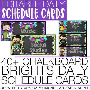 Chalkboard Brights Daily Schedule Cards {Editable}