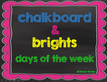 Chalkboard & Brights Days of the Week