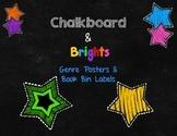 Chalkboard & Brights Decor: Genre Posters & Book Bin Labels