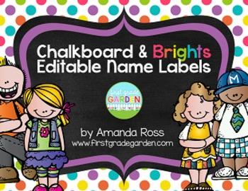 Chalkboard & Brights Editable Name Labels