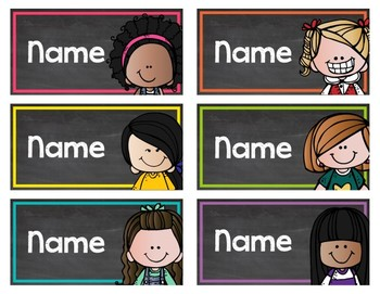 Chalkboard & Brights Editable Name Labels