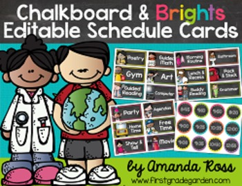 Chalkboard & Brights Editable Schedule Cards {with Matching Time Cards}