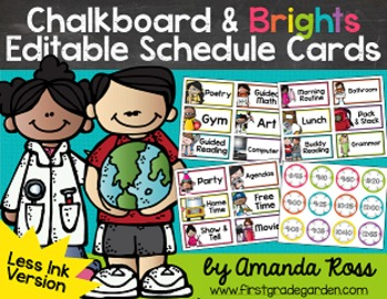 Chalkboard & Brights Editable Schedule Cards with Matching Time Cards {Less Ink}