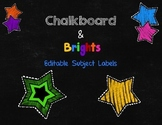 Chalkboard & Brights Editable Subject Labels