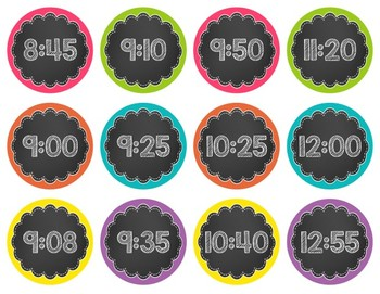 Chalkboard & Brights Editable Time Cards