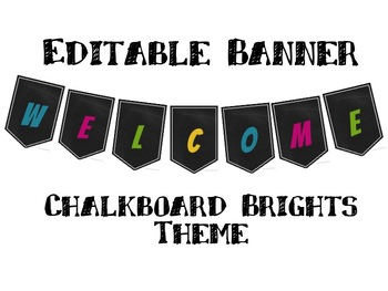 Chalkboard Brights Editable Welcome Banner